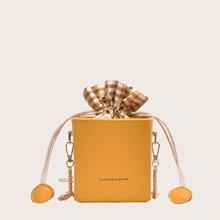Mini Box Shaped Chain Bag With Drawstring