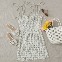 Knot Strap Ruched Bust Heart Print Slip Dress