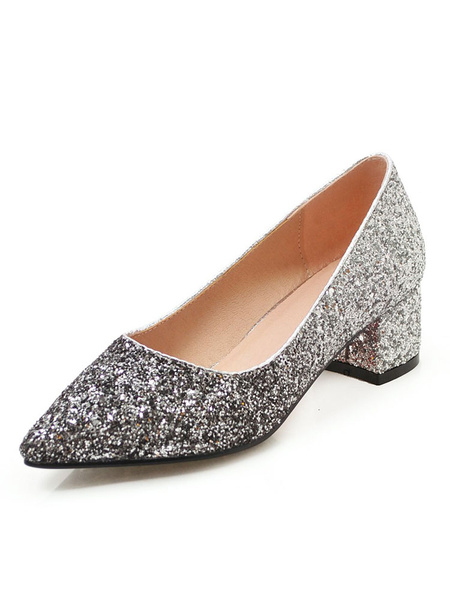 Milanoo Glitter Party Shoes Women Pointed Toe Chunky Heel Pumps