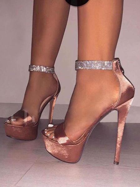 Milanoo Women Sexy High Heels Satin Platform Open Toe Rhinestones Sexy Sandals