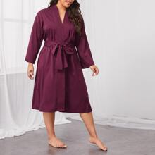 Plus Drop Shoulder Belted Robe