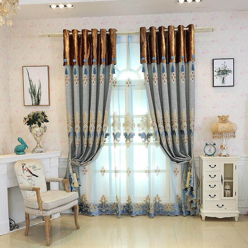 Luxury and High Quality European Style Decorative 2 Panels Sheer Curtains