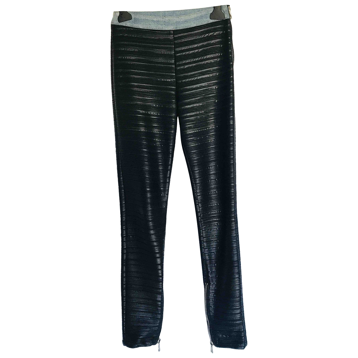 Balmain \N Black Leather Trousers for Women 36 FR