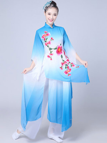 Milanoo Women Chinese Costumes Blue Asian Outfit Holidays Carnival Costumes