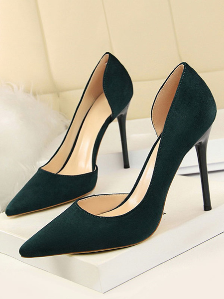 Milanoo Black High Heels Suede Pointed Toe Slip On Pumps Women Dress Heeled Shoes