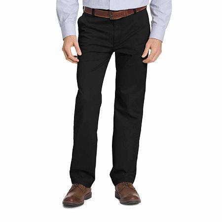 IZOD Big & Tall Sportflex Waistband Stretch Flat Front Chino Pant, 36 36, Black
