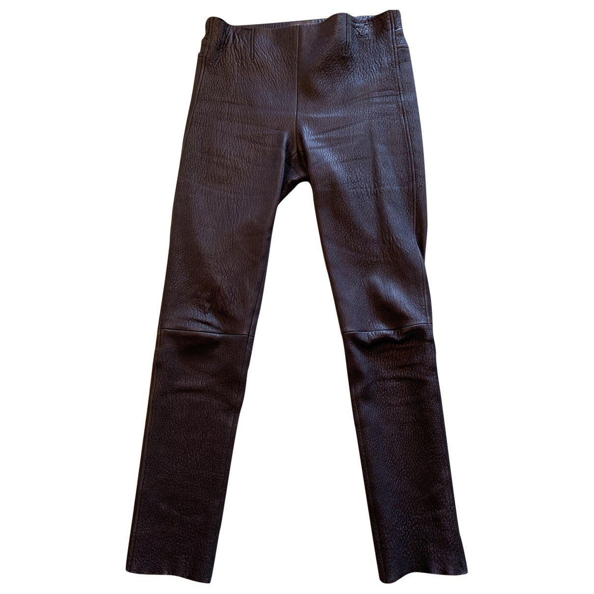 Louis Vuitton \N Black Leather Trousers for Women 40 FR