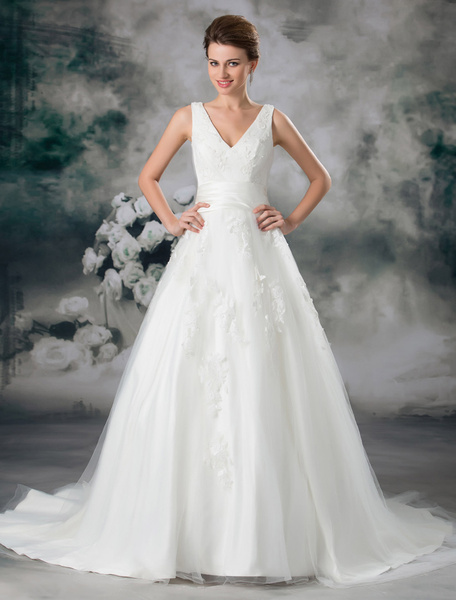 Milanoo Classic Ivory Ball Gown V-Neck Beading Tulle Bridal Wedding Gown with Off-The-Shoulder Design