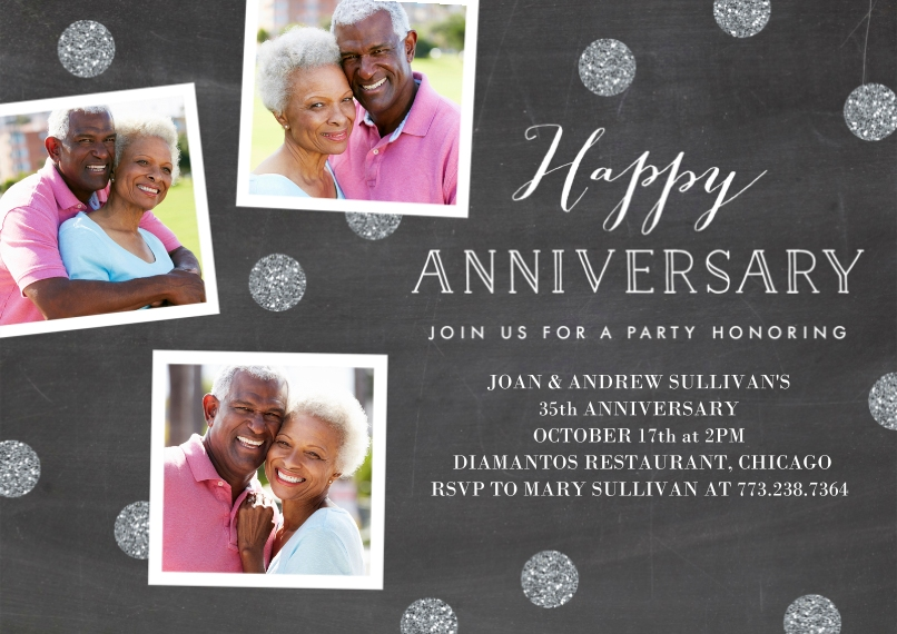 Anniversary Invitations 5x7 Cards, Premium Cardstock 120lb with Rounded Corners, Card & Stationery -Anninversary Party Snapshots