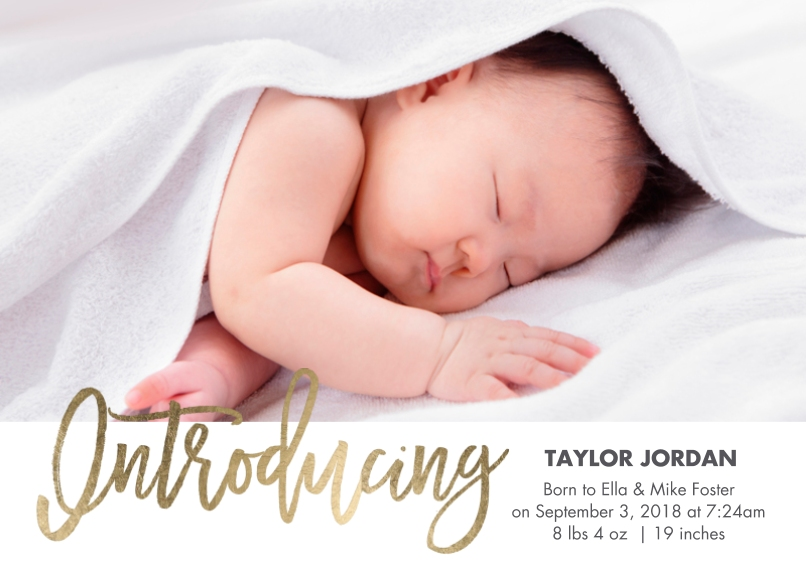 Baby Boy Announcements 5x7 Cards, Standard Cardstock 85lb, Card & Stationery -Baby Introducing Gold