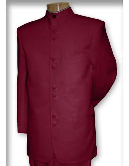 Best Quality Mandarin Collar Wine Suit for men