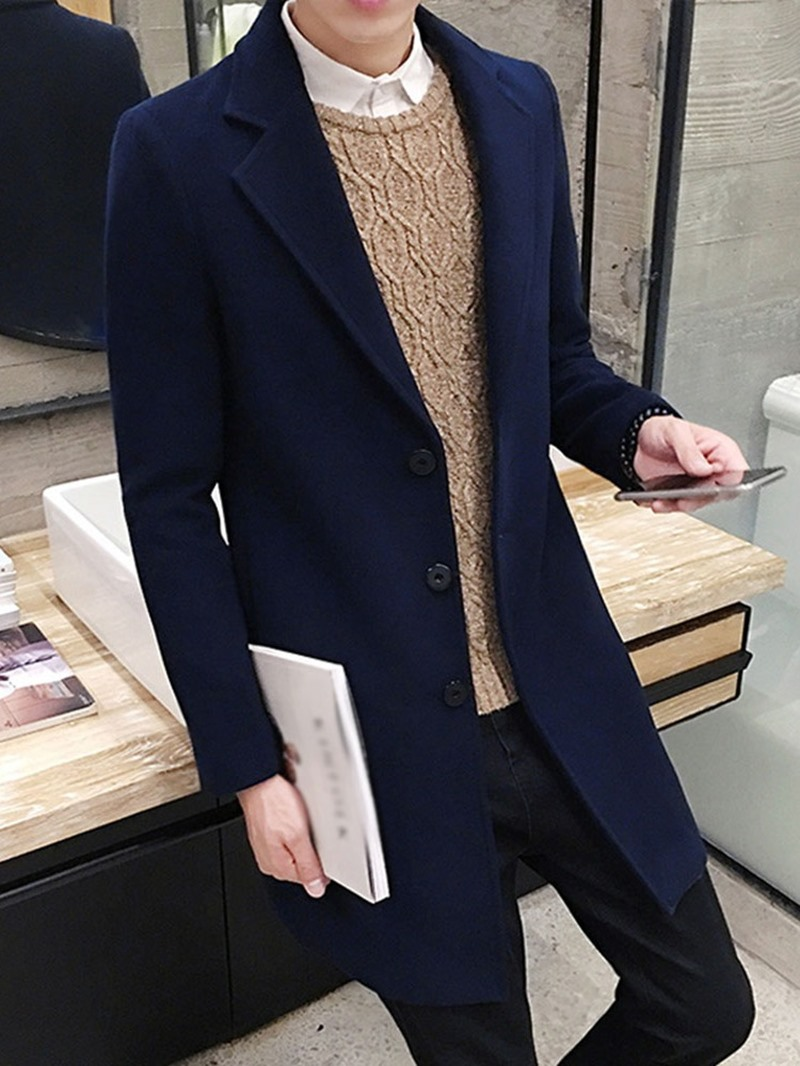 Ericdress Mid-Length Button Plain Slim Single-Breasted Men's Coat