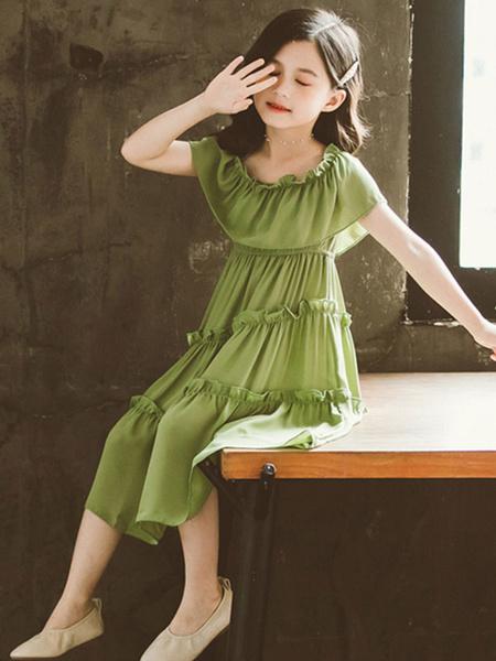Milanoo Green Toddler Summer Dress Polyester Short Sleeves Girls Dress