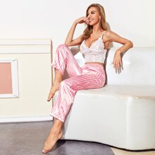 Sheer Lace Cami Top With Satin Striped Pants Night Set