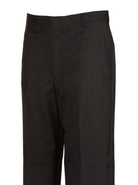 Grey Striped Harwick Clothing Flat Front Dress Pants