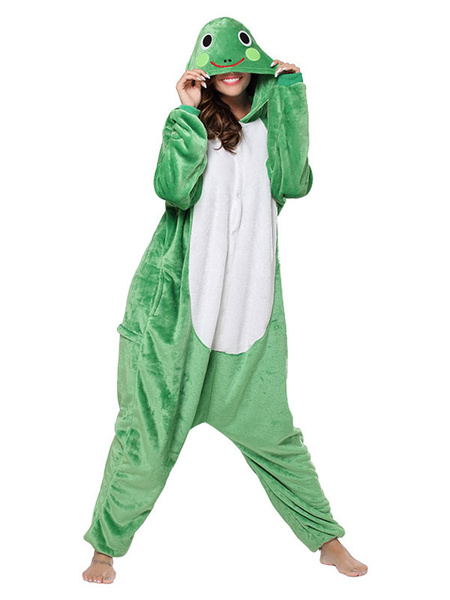Milanoo Kigurumi Onesie Pajamas Frog Adult Green Flannel Easy Toilet Winter Sleepwear Animal Costume Halloween