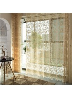 Elegant Yellow Embroidered Decorative Living Room Custom Semi Sheer Curtains