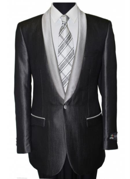 Mens Black Shawl Collar Single Button Dinner Jacket Blazer Sport coat