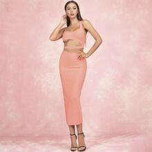 Lucra Cutout Detail Crop Top and Split Hem Skirt Set