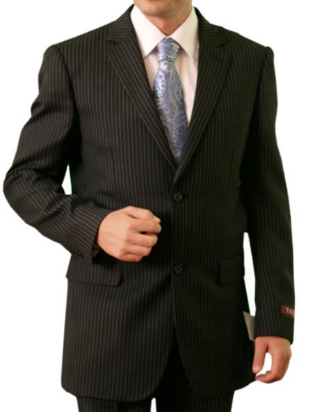 2 Button Front Closure  Black Pin Stripe Suit Mens Cheap