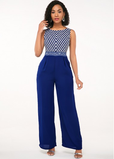 Blue Diagonal Stripe Sleeveless Open Back Jumpsuit - XS