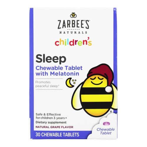 Children's Sleep with Melatonin Supplement Grape 30 Chewable Tablets by Zarbees