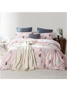 Minimalist Cactus Printed Pink Cotton 4-Piece Bedding Sets/Duvet Cover