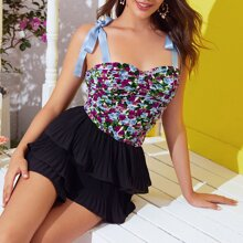 Ribbon Tie Shoulder Ruched Floral Top