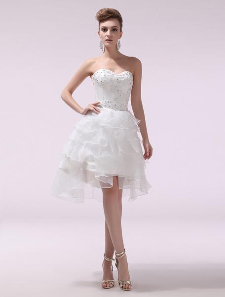 Milanoo Ivory A-line Sweetheart Beading Knee-Length Organza Beach Wedding Gown