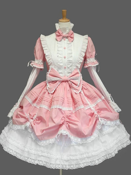 Milanoo Sweet Lolita Dress OP Black High Collar Puff Long Sleeve Cotton Lace Ruffled Bow Lolita One Piece Dress
