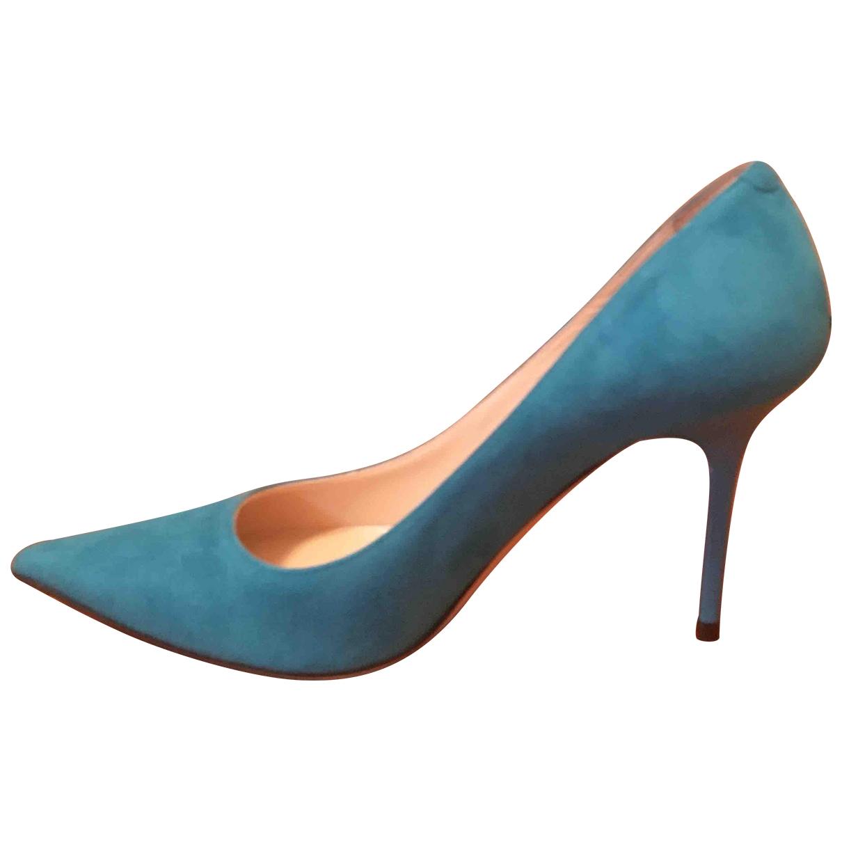 Jimmy Choo \N Turquoise Suede Heels for Women 36.5 IT