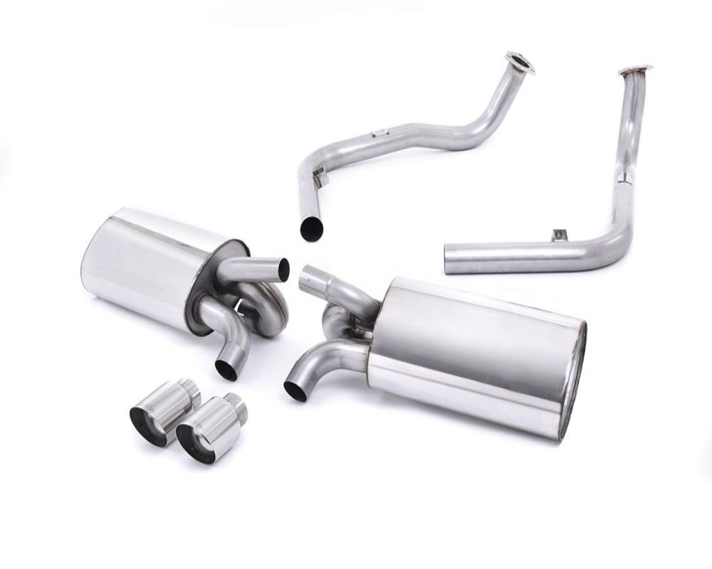 Milltek SSXPO118 2.25 inch Catback Exhaust System Non Resonated with Twin 90mm Special Style Tips Porsche Cayman S 987 3.4L 09-13