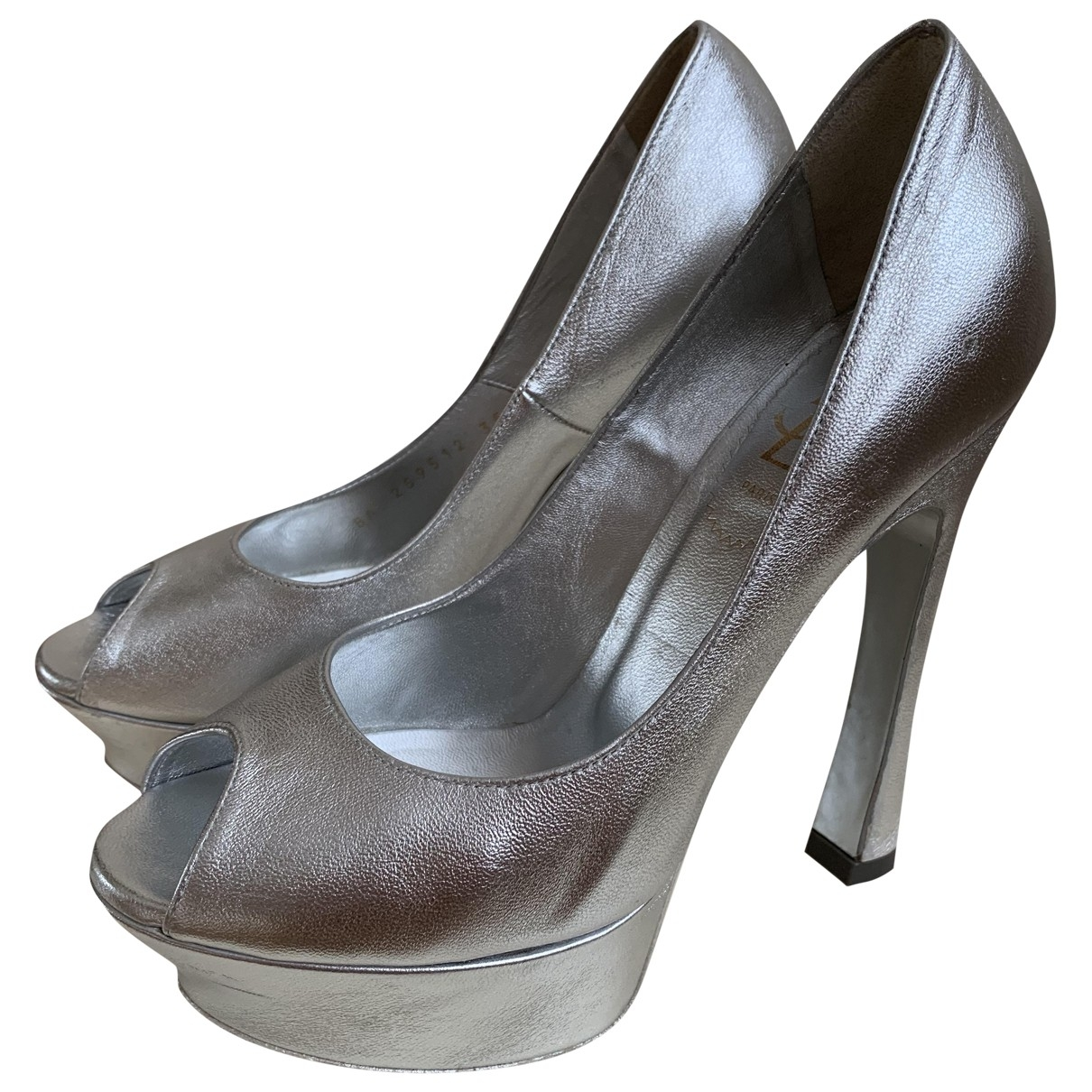 Yves Saint Laurent Palais Silver Leather Heels for Women 35.5 EU