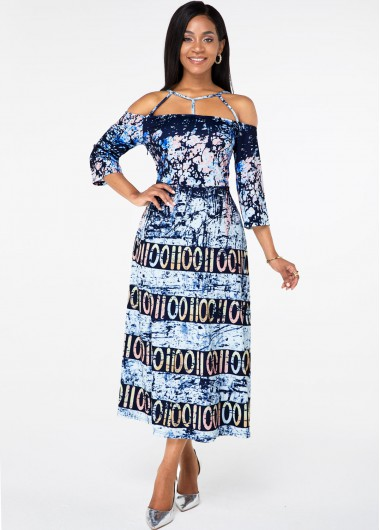 Cocktail Party Dress Strappy Neck Three Quarter Sleeve Printed Dress - M