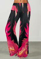 Flame Wide Leg Elastic Waist Pants - Rose Red