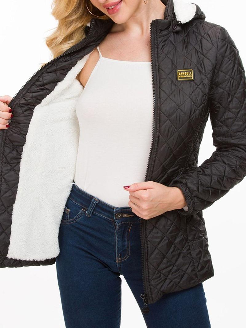 Ericdress Slim Zipper Mid-Length Cotton Padded Jacket