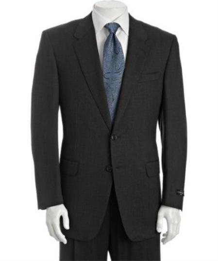 2 Button Dark Grey Super s Wool Suit with Single Pleated Trousers Mens