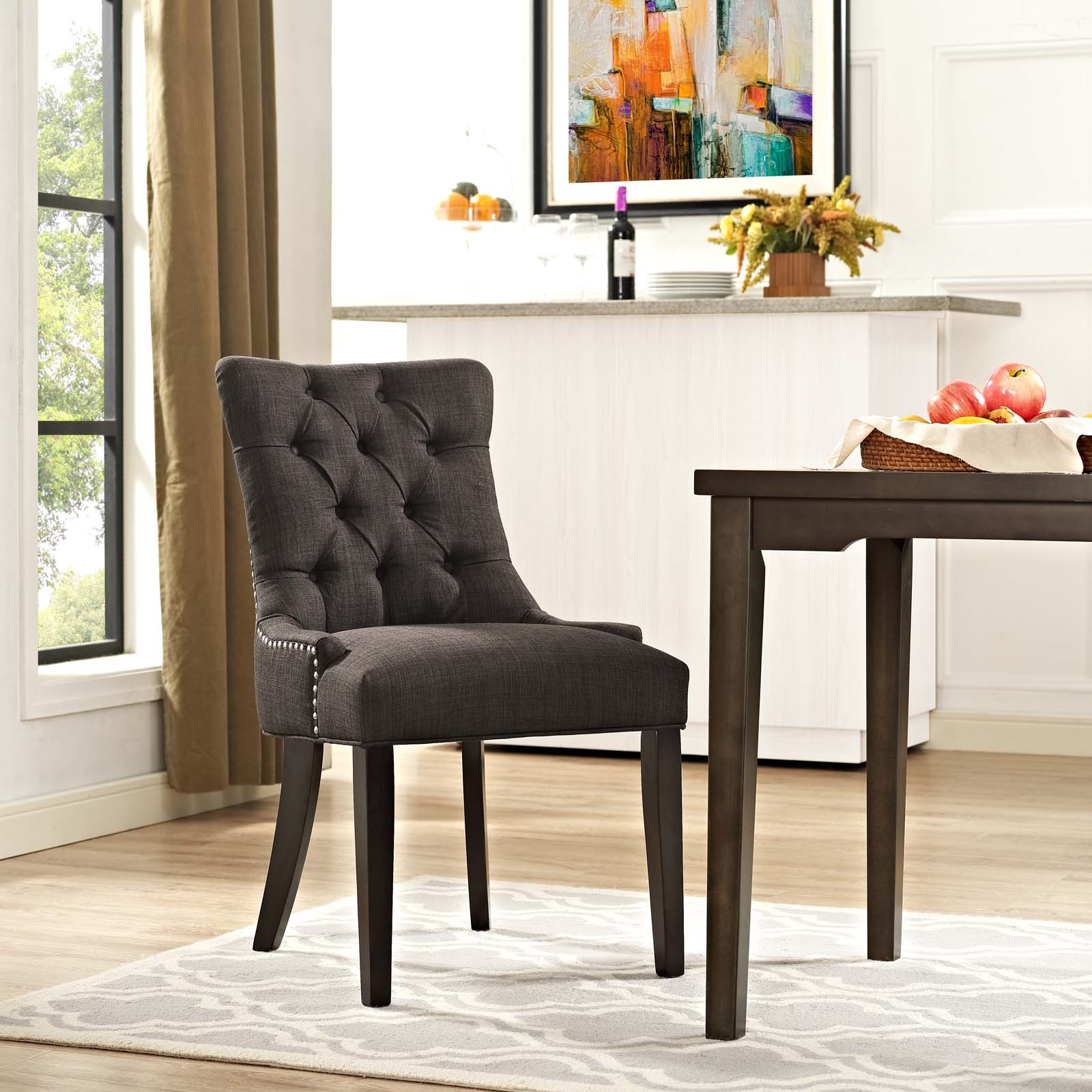 Regent Tufted Fabric Dining Side Chair in Brown