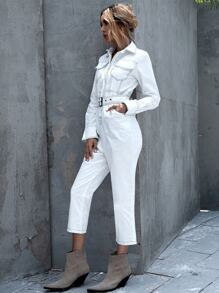 Contrast Top-stitching Belted Denim Jumpsuit