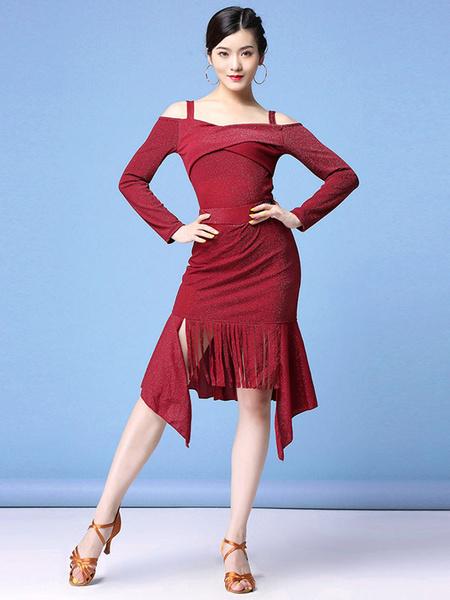 Milanoo Latin Dance Costumes Dresses Fringe Ruffle Slit Women Dancing Wears Outfit Halloween