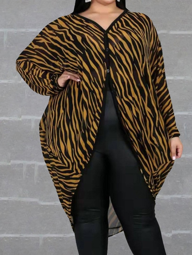 Ericdress Plus Size Asymmetric Regular Long Sleeve Trench Coat