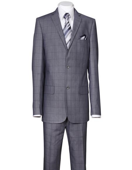 Mens Plaid Window Pane Pattern Suit Side Vent Regular Fit Gray
