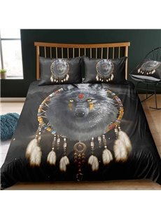 Indian Wolf And Dream Catcher Digital Printing Polyester 3D 3-Piece Bedding Sets/Duvet Covers