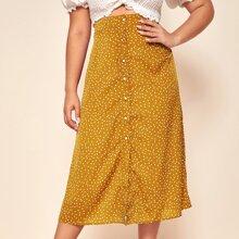 Plus Polka Dot Button Through Skirt