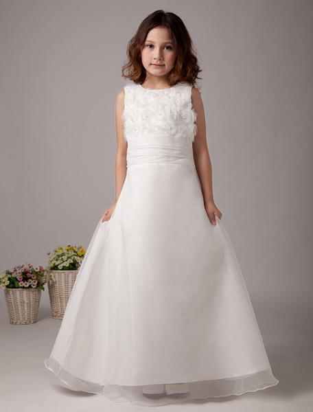 Milanoo Vestido para damitas blanco de saten estilo de vestido de baile con escote cuadrado hasta el suelo