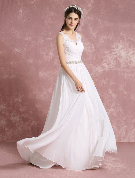 Milanoo Summer Wedding Dresses 2020 Chiffon Boho Bridal Gown V Neck Lace Beaded A Line Maxi Bridal Dress