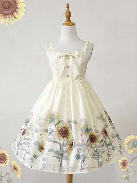 Milanoo Classic Lolita JSK Dress Sunflower Print Bow White Lolita Jumper Skirt