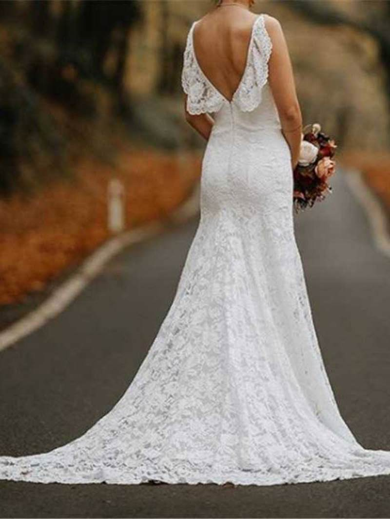 Ericdress Ruffles Spaghetti Straps Lace Wedding Dress