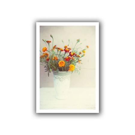 Brushtone Flowers Classical Vase Canvas Wall Art, One Size , White