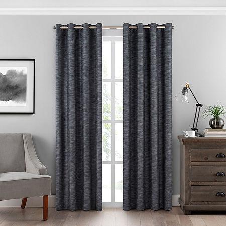 Eclipse Warren Energy Saving 100% Blackout Grommet-Top Single Curtain Panel, One Size , Gray